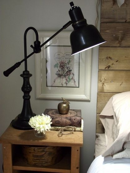 love that lampBedrooms 3, Reclaimed Wood, Condo Bedrooms, Bedrooms Design, Diy Headboards, Bedside Tables, Tables Lamps, Home Offices, Desks Lamps