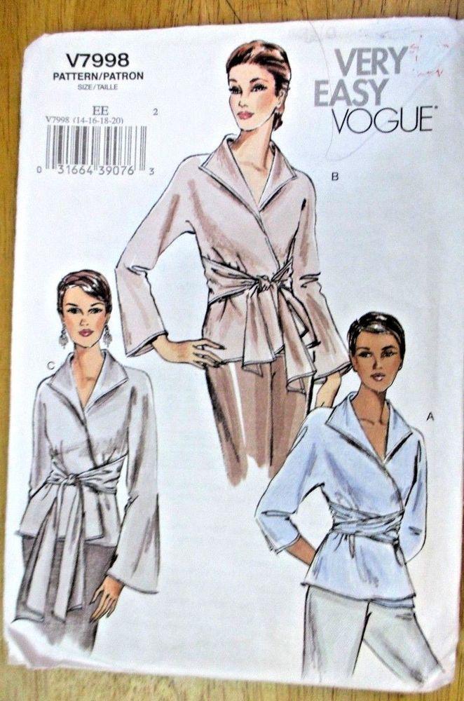 2018 的 Vogue sewing pattern no.v 7998 ladies blouses size 14,16,18 ...