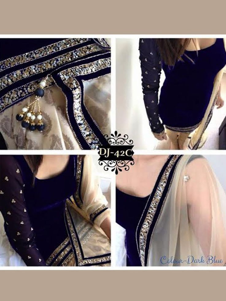 Navy Blue Color Bollywood Replica Designer Party Wear Suit in Velvet