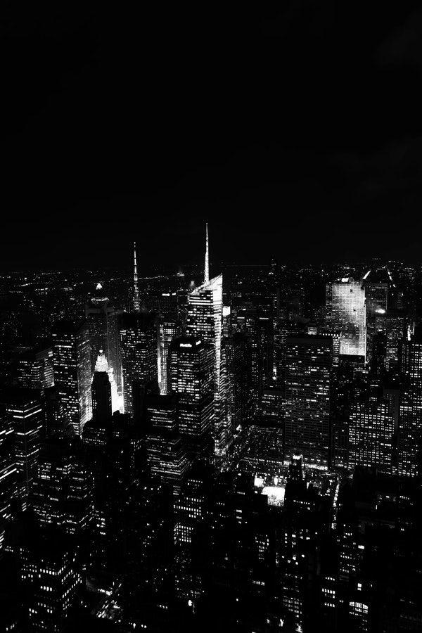 Manhattan Night Wallpaper Black Aesthetic Wallpaper Black And White Picture Wall Dark Wallpaper