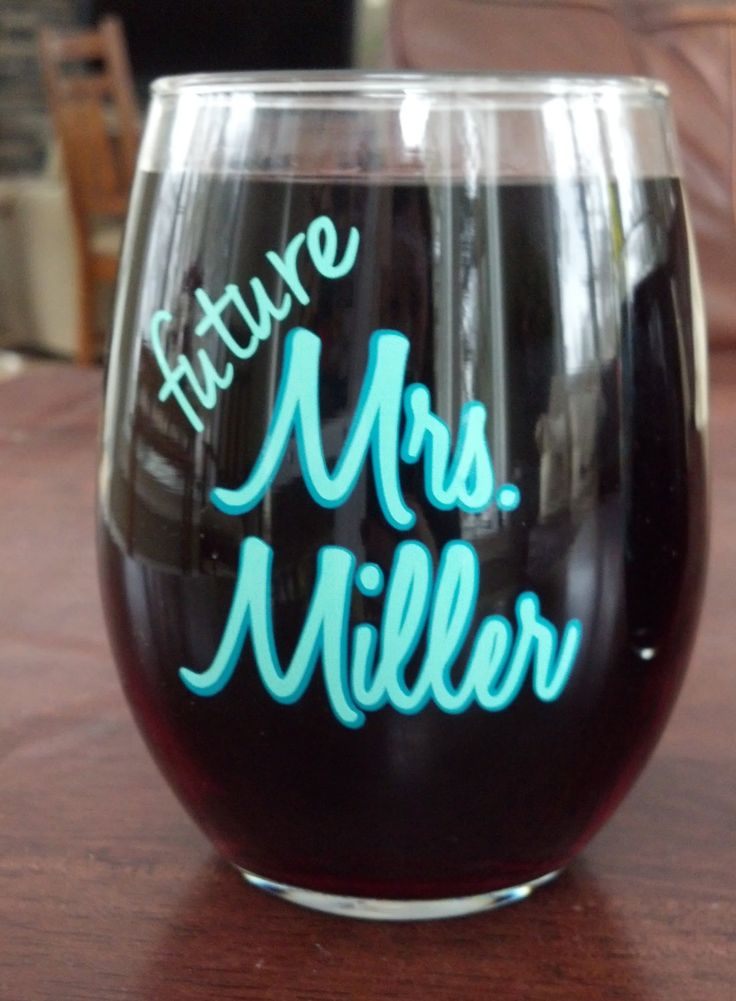 Future Mrs. wine glass.  Bridal shower gift by WaterfallDesigns, $12.00