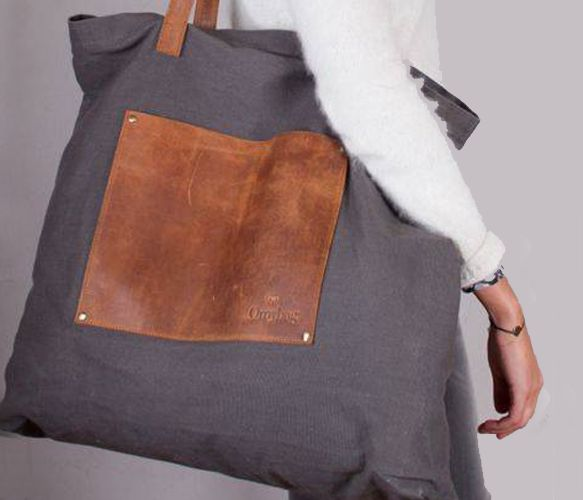 Gray Canvas Bag with Leather Pocket & Straps.