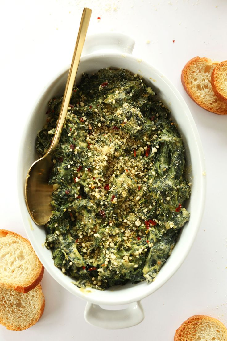 AMAZING Creamy Kale and Spinach Dip - completely dairy- and gluten-free and SO cheesy and delicious! #vegan #glutenfree