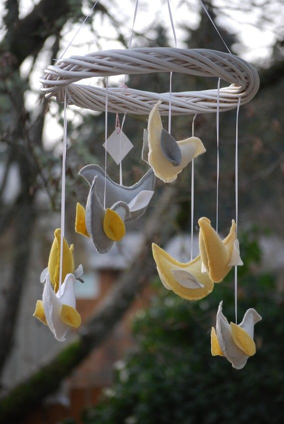 @Leeann Austin - I made two of these mobiles and they are super simple.  Check out my facebook photos of the nursery for what mine looks like.  You just need a grapevine wreath, felt, stuffing, buttons for eyes, and ribbon.  I made wings with coordinating fabric.