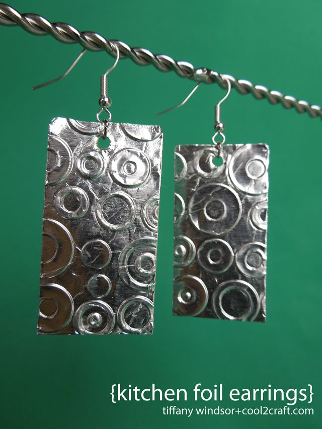 Upcycle and recycle your kitchen foil and brown bags into the cooelst earrings! Kitchen Foil Earrings by Tiffany Windsor featured on Cool2Craft TV