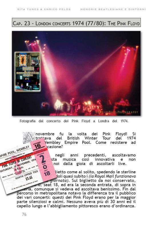 """PINK FLOYD 1974 WEMBLEY CONCERT ... we were there... A pag. 76 e altre di """"MEMORIE BEATLESIANE e dintorni""""... di Rita Tunes e Enrico Pelos...  ebook http://goo.gl/vLXbiA copertina a colori e foto in Bianco/Nero http://goo.gl/1dmYNS tutto a colori http://goo.gl/0gp2FI su amazon http://goo.gl/ieTlYT"""