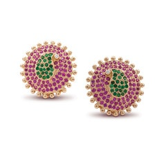 Rasvihar Gowla - Tradition redefined in these gorgeous ear studs featuring an emerald paisley set amidst rubies that dramatically spiral outwards. Tiny gold beads rimming the stones highlight the beauty of the piece while the single diamond acts as a focal point.