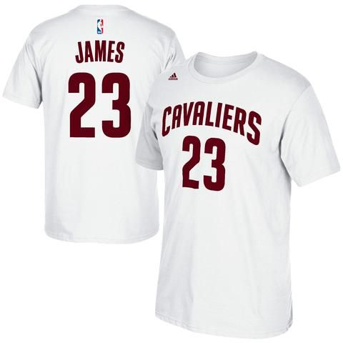 Adidas LeBron James Cleveland Cavaliers White Net Number T-Shirt