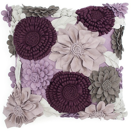 An outstanding extravaganza of intricately formed, multilayered three dimensional flowers adorn the Aubergine Bloom Pillow in tones of Amethyst, Orchid and Grey. A precise computerized cutting technique guarantees continuity of design and color from pillow to pillow. The fabric is primarily wool, with a little help from nylon, polyester and acrylic.
