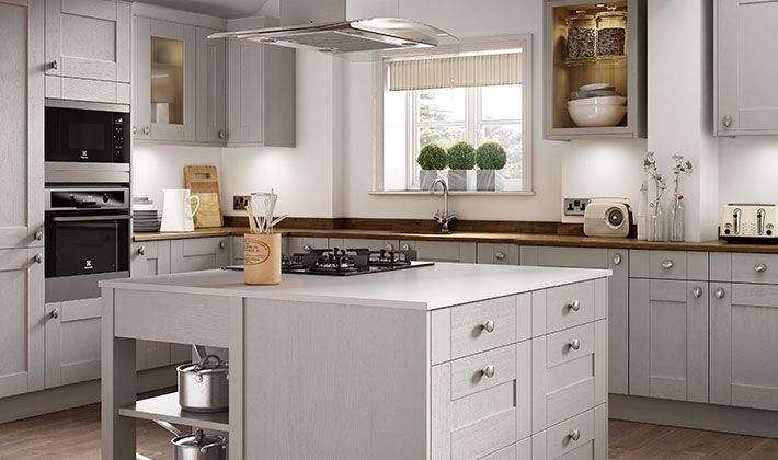 Wickes milton grey combines a natural woodgrain effect for Wickes kitchens