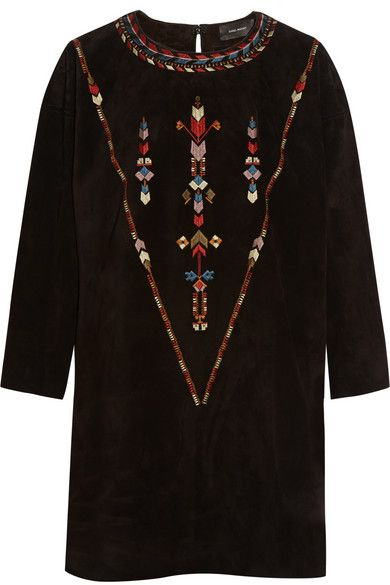 Isabel MarantMaggy Embroidered Suede Mini Dress