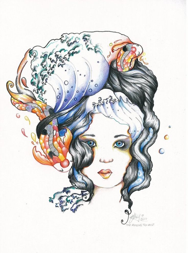 #ElementEdenArtSearch  The Ocean is inherently a beautiful but alien world. And at times it is a tempest rising – surging forward in a mesmerizing display of strength and beauty. And from this I encapsulated the spirit and embodiment of the sea into the image of a strangely curious and beautiful girl.  I used Faber-Castell Classic Colour Pencils, a dab of fine liner and of course who could go past the shiny metallic paper to craft fish scales from?  :D <3 #ElementEdenArtSearch
