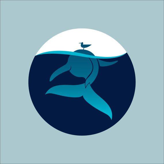 Кит,Море,Синий,Принт,Печать,Картина,Панно,Стена,Интерьер,Морской,Рисунок,Живопись, Животное,Чайка,Круг,Иллюминатор,Живая природа,Океан,