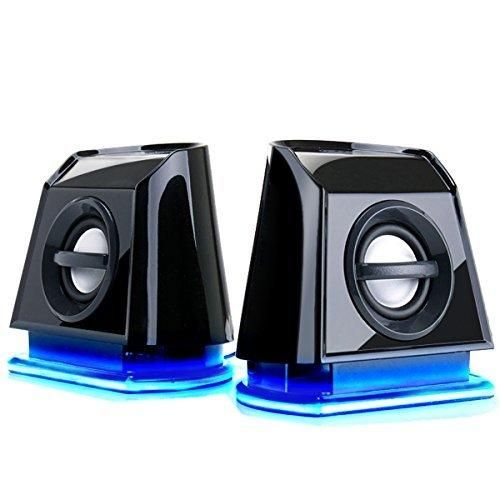 GOgroove BassPULSE 2MX 2.0 USB Multimedia Computer Speakers with Blue LED Lights  Dual Drivers & Passive Subwoofer - Works with PC  Apple MAC  Dell  HP  CybertronPC Desktop & Laptop Computers