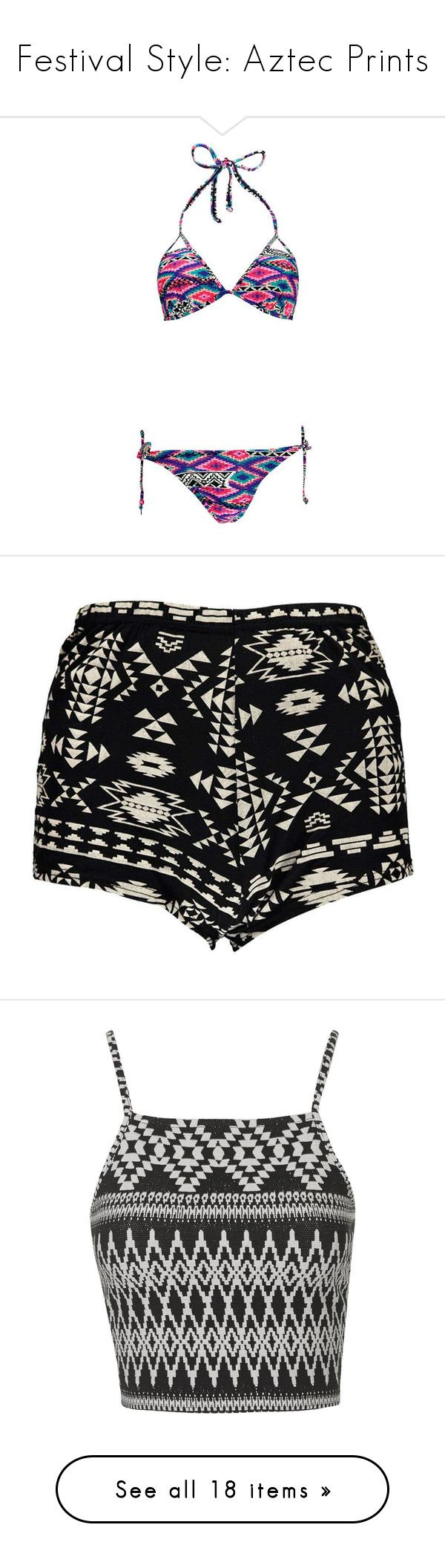 """""""Festival Style: Aztec Prints"""" by polyvore-editorial ❤ liked on Polyvore featuring aztecprints, swimwear, bikinis, swimsuits, bathing suits, swim, high waisted bikini swimsuit, high-waisted bathing suits, high-waisted bikinis and bandeau bikini"""