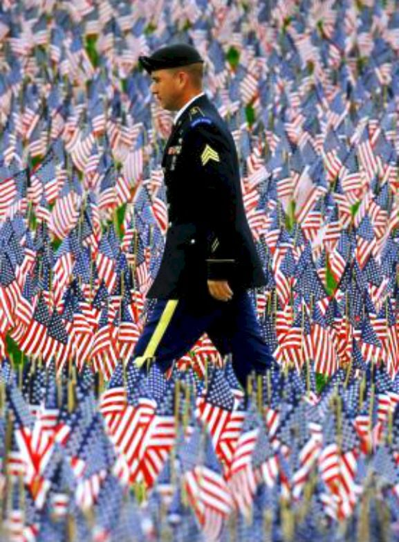 A soldier walks on a path through the Massachusetts Military Heroes Flag Garden in Boston. Photo: AP