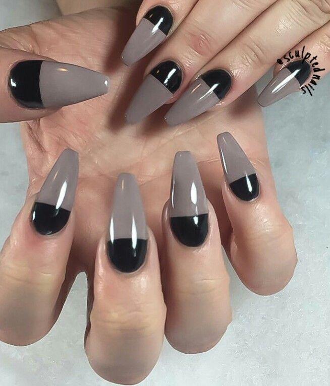 Two tone mauve nails