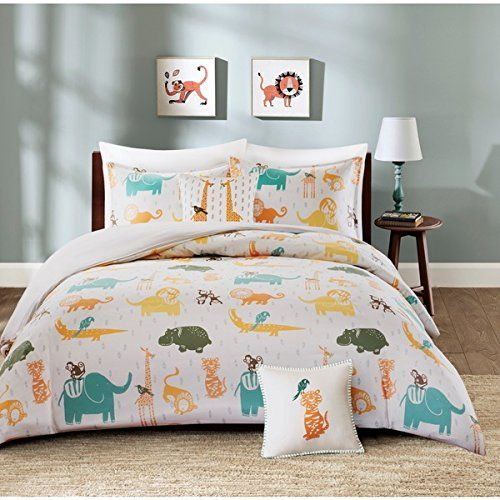 3 Piece Kids Zoo Animal Theme Duvet Cover Twin Set, Cute Fun All Over Wild Safari Animals Bedding, Friendly Multi Lion Elephant Giraffe Alligator Bird Hippo Themed Pattern Blue Yellow Orange Set includes: One duvet cover, One sham, One decorative pillow Duvet Cover: 68 inches wide x 88 inches long