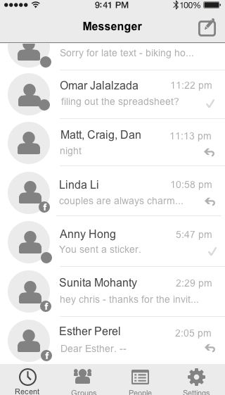 List of Conversations from Facebook Messenger - UI Design Pattern - Wireframe Templates and User Experience Design Resources |UXPorn by UXPin
