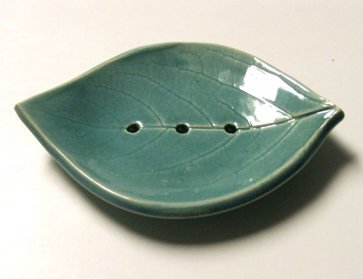 Hand Built Soap Dish, Persimmon Leaf, Footed, Robins Egg Blue. $14.00, via Etsy.