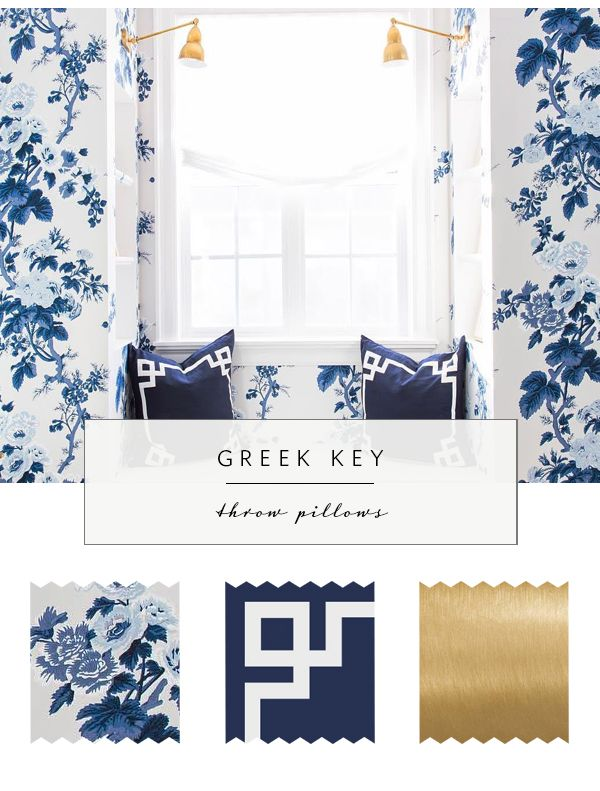 Greek Key Throw Pillows with Blue Floral Wallpaper