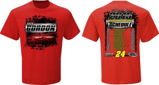2015 JEFF GORDON #24 DTEH RED SHORT SLEEVE NASCAR SPRINT CUP SCHEDULE SHIRT #HendrickMotorsports
