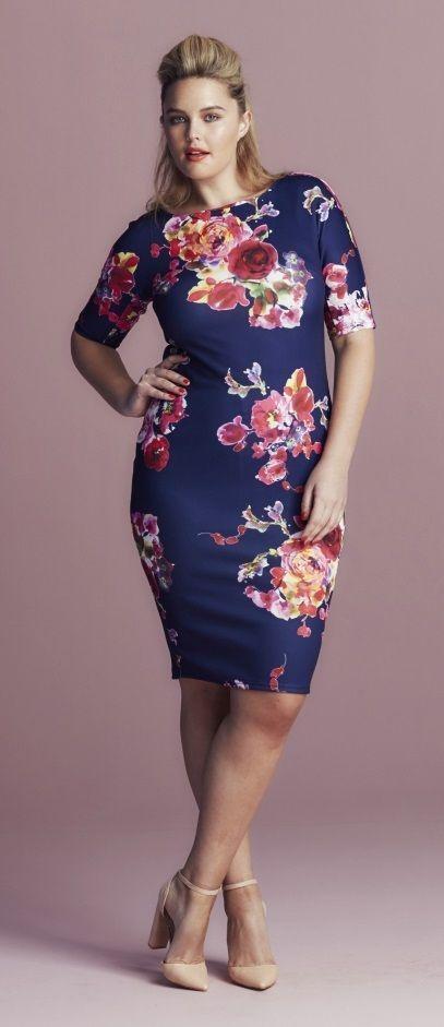 Plus Size Curve Bodycon Floral Dress