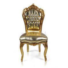 Dekoracyjne krzesło Kair, złota, drewniana rama, złote obicie z eko-skóry.