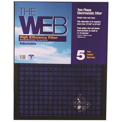 """WEB Products High Efficiency Air Conditioner Air Filter Size: 25"""" H x 16"""" W x 1"""" D"""
