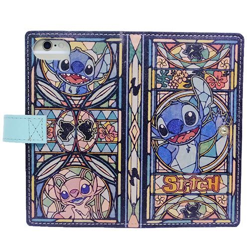 Product made in Japan fancy goods mail order cinema collection made of notebook type iPhone7 6S six cases stained glass Disney D version cowhide made of スティッチ genuine leather eyephone 7 cover leather