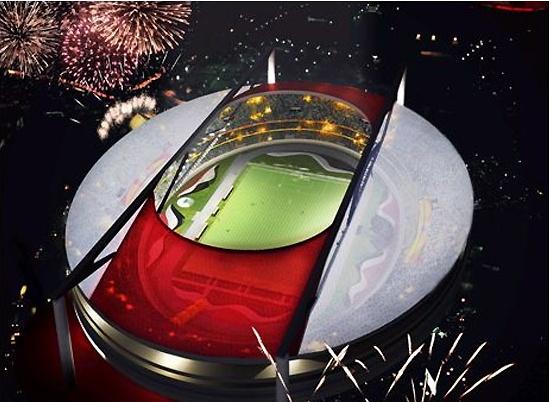 Morumbi 2014 | A futura cobertura do estádio, vista de cima (créditos: Projeto Ruy Ohtake)