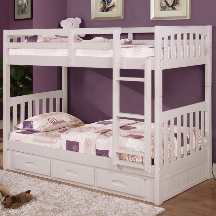 Donco Kids Mission Twin Over Twin Bunk Bed with Drawers