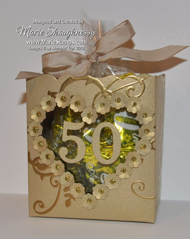 Stamping Inspiration: GOLDEN ANNIVERSARY FANCY FAVOR BOXES...