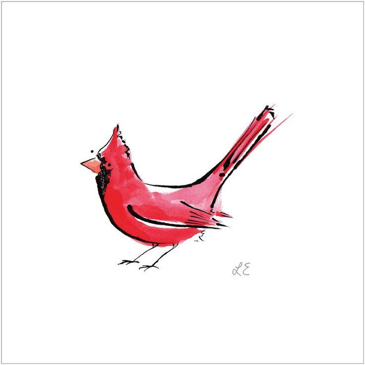 Red Cardinal Bird Illustrated Print.  via Etsy.