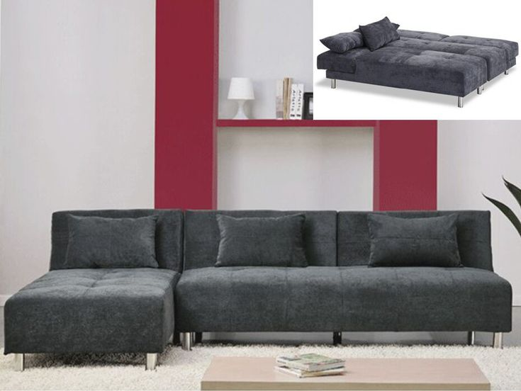 Sofá cama rinconero de microfibra MARLI II - Ángulo reversible - Gris