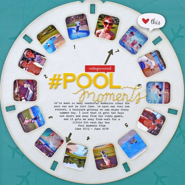 #pool moments by Christine Drumheller using the July 2014 #scrapbooking kit, #Viewfinder. www.cocoadaisy.com