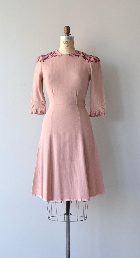 Vintage 1940s dusty pink wool dress with shades of deep pink embroidered leaves at the shoulders, slight puff shoulders, 3/4 pleated ruffle sleeves,