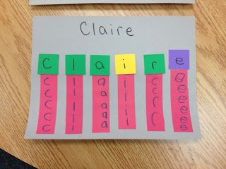 Great way to practice writing the letters in their name.