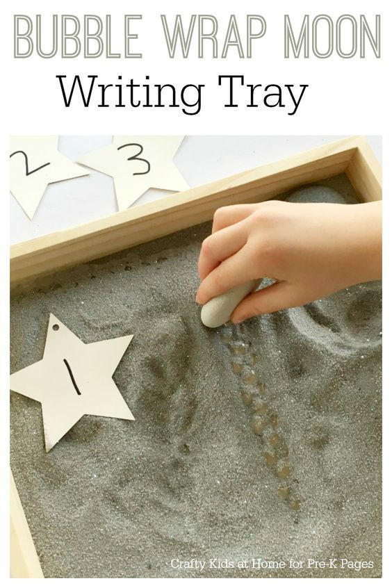 Moon Salt Writing Tray. A fun way to practice writing with your preschool or kindergarten kids at home or in the classroom. Perfect for an outer space or planets theme! - Pre-K Pages
