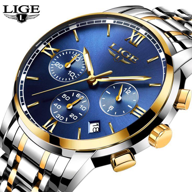 LIGE Men Watch Top Brand Luxury Business Sport Chronograph Stainless Steel Quartz Wrist Watch Men Clock Male relogio masculino //Price: $US $21.99 & FREE Shipping //     #hashtag4
