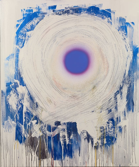 Dan Christensen, Vanilla Blue, 1998. Acrylic on canvas, 67 x 55 1/2 inches