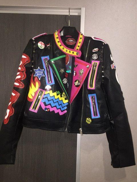 Harajuku HipHop Graffiti Patchwork Epaulet Rivet Pu Leather Bomber Jacket,Flight Pilot Motorcycle Down Jackets Outfit Coat Women