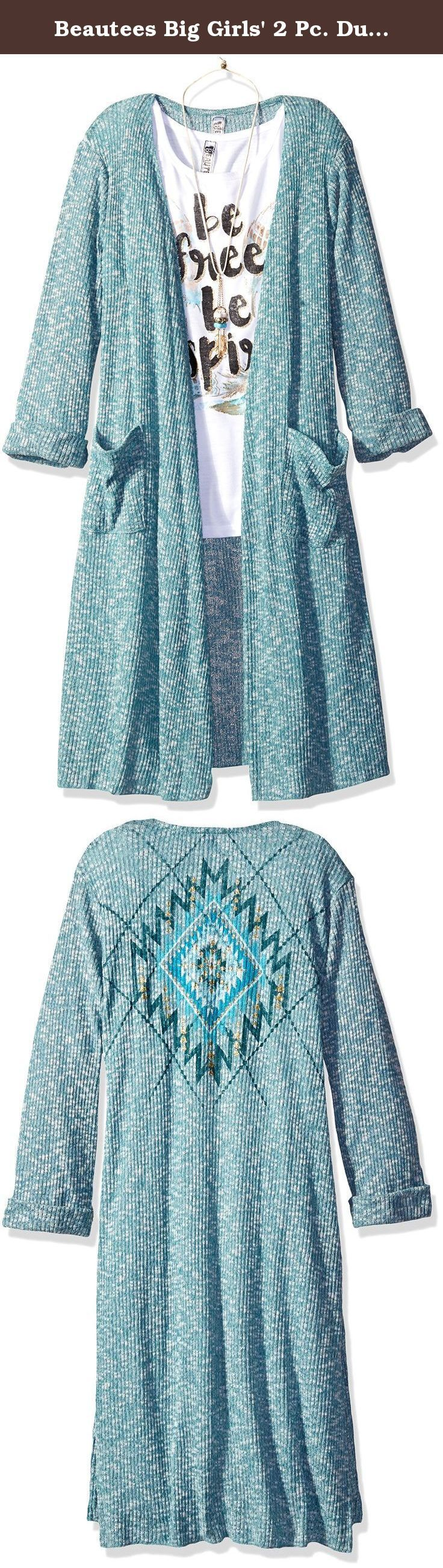 Beautees Big Girls' 2 Pc. Duster Withfeather Scrn, Vintage Teal, Large. Two piece inspired screen top with long Aztec screen duster.