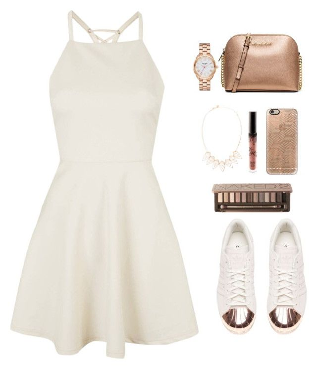 """""""Rose gold and white summer outfit"""" by emmeleialouca on Polyvore featuring Topshop, adidas, MICHAEL Michael Kors, Casetify, Jules Smith, Urban Decay and Kate Spade"""