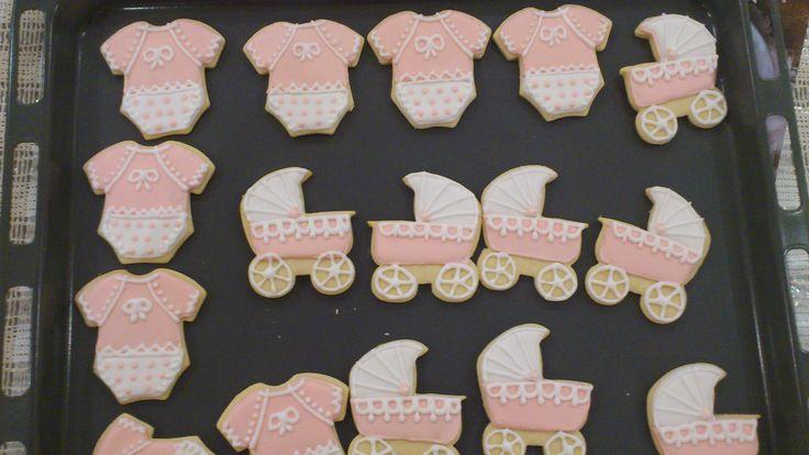 μπισκότα baby girl με αυγογλασο baby girl cookies