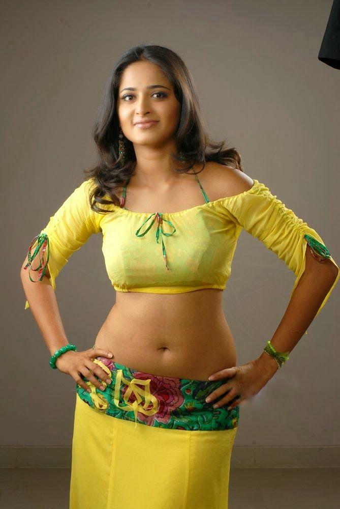 Panel Currey: Anushka Shetty Hot Navel Hip Show Pics In Yellow D...