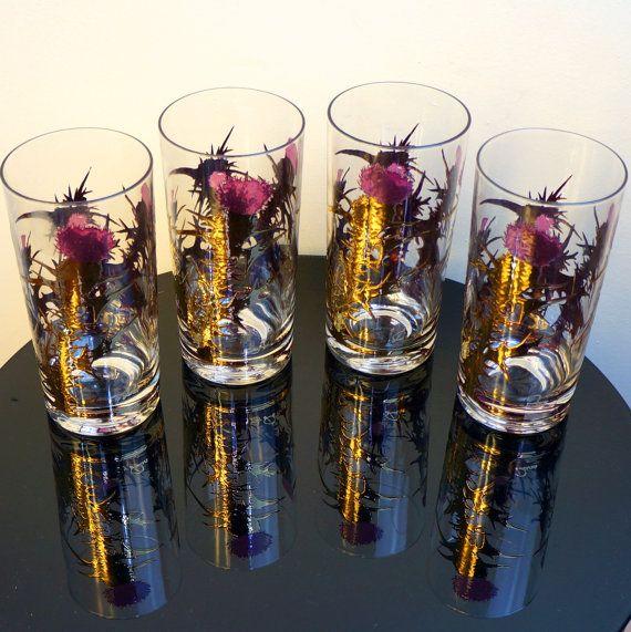 Thistle Barware 1950s Gold Leaf Purple Cluaran Highballs Four 4 Rare Vintage Fòghnan Bar Glasses Scotland National Flower Gregory Duncan $149.99