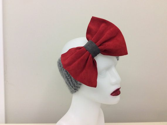 Mohair blended with Leather Big Bow Headband, Earwarmer