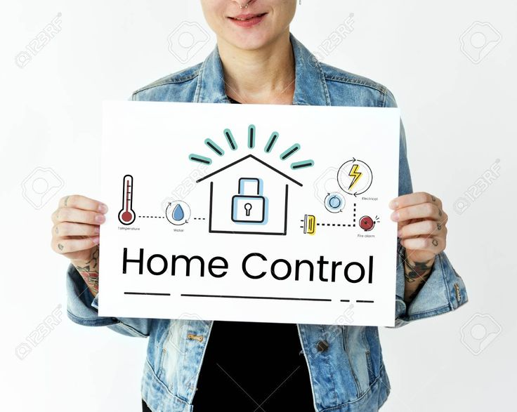 Woman holding illustration of smart house invention automation technology banner Stock Photo , #Aff, #smart, #house, #illustration, #Woman,