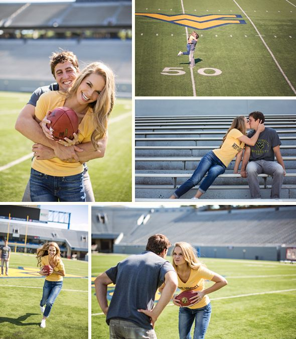 How stinkin' adorable! #engagementphotos #wvu #wvuweddings #wedding #football #HailWV